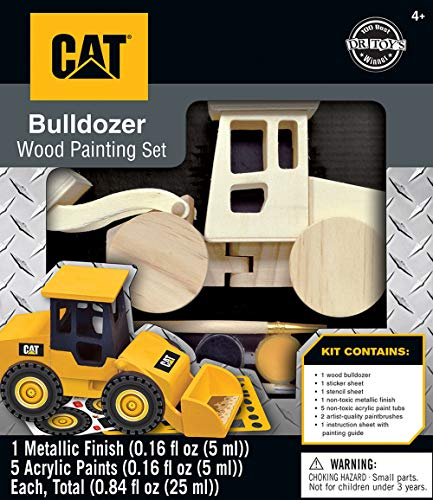 MasterPieces Caterpillar Real Wood Acrylic Paint & Craft Kit, Bulldozer, Dr. Toy's 100 Best Winner, for Ages 4+
