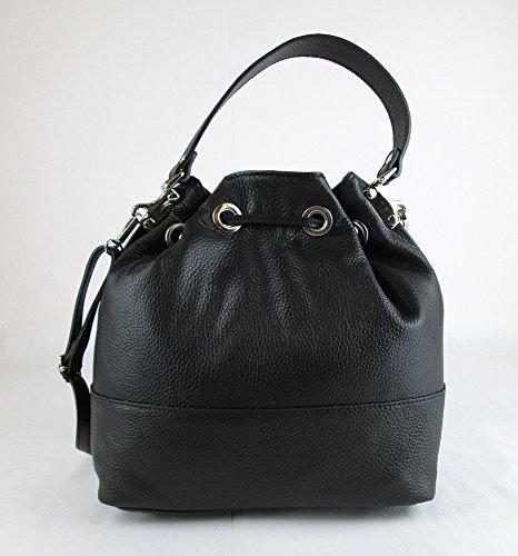 borsa a sacca da donna manici e tracolla vera pelle made in italy nera