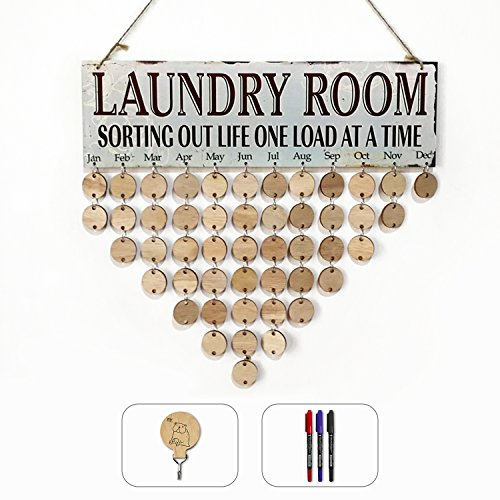 Laundry Plaques Room (ElekFX Calendar Wooden Board Flexible Wall Hanging Plaque For Laundry Room Recording Name and Dates with Adhesive Hook and 3 Writing Pens)