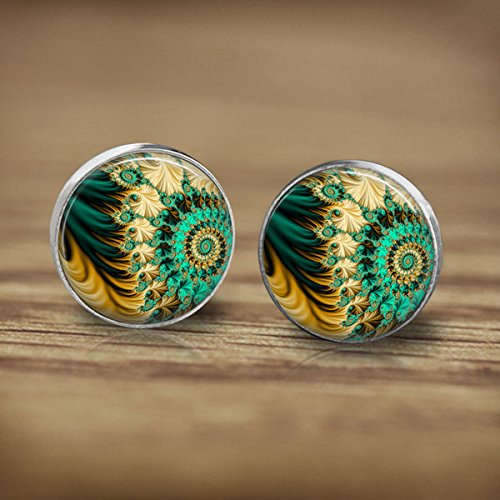 (Vintage Cute Fractal Geometric Figure Green Earrings Accessories-Fractal Geometric Figure Ear Rings-Silver Post Glass Jewellery-Handmade Jewelry- Earrings Jewelry-Glass Fashion Jewelry For Women)