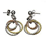 Sterling Silver Tri-color Rings Diamond-Cut Ball Nickel Free Earrings Italy