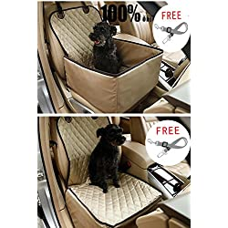 Dog Car Seat Cover Pet Booster Seat, C&D Deluxe 2 in 1 Dog Seat Cover for Cars Waterproof Dog Front Seat Cover Pet Bucket Seat Cover (Beige)