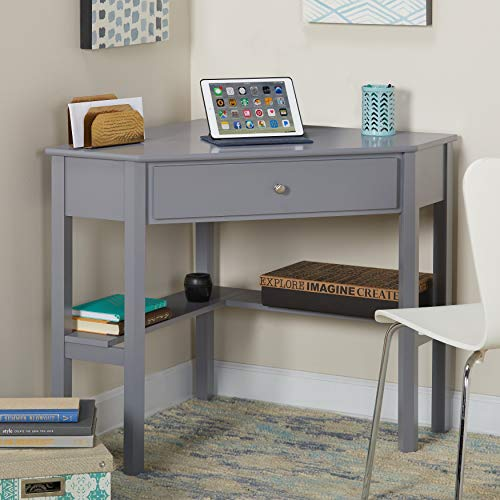 This Classically Styled Desk utilizes a Small Space for a Big Impact, with Stylish Under-Desk Shelving and a Drawer to Hide Clutter. Simple Living Wood Corner Computer Desk Grey