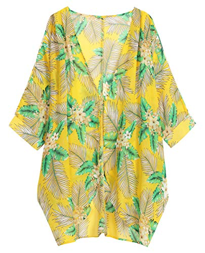 OLRAIN Women's Floral Print Sheer Loose Kimono Cardigan Capes (Large, Yellow GreenL) (Prints Cover)