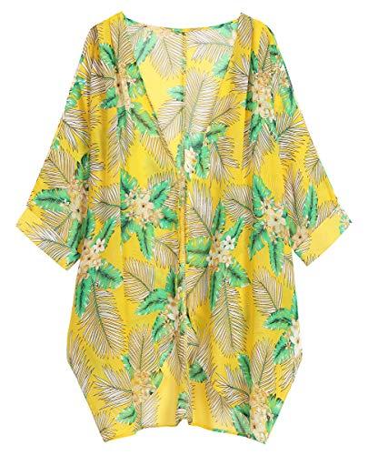 OLRAIN Women's Floral Print Sheer Loose Kimono Cardigan Capes (X-Large, Yellow GreenL) ()