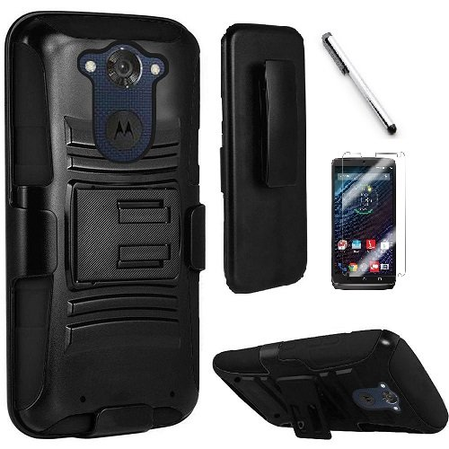 Motorola Red Hard Faceplates (Motorola Droid Turbo XT1254 ( Verizon ), Luckiefind Hybrid Armor Stand Case with Holster and Locking Belt Clip, Stylus Pen & Screen Protector Accessory (Holster Black))