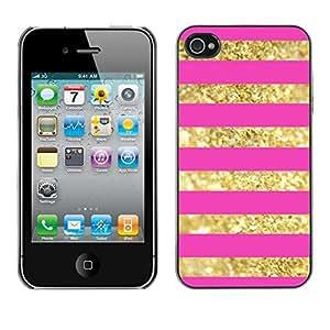"""For Apple iPhone 4 / iPhone 4S / 4S Case , Oro Líneas Patrón Bling Pink Glitter"""" - Diseño Patrón Teléfono Caso Cubierta Case Bumper Duro Protección Case Cover Funda"""