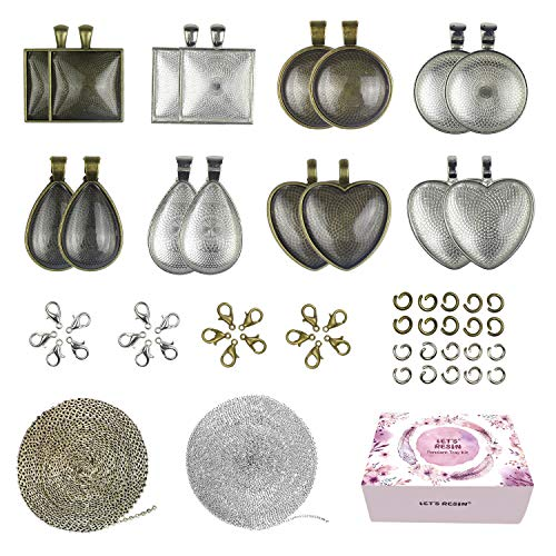 LET'S RESIN 16pcs Pendant Trays with 16pcs Glass Cabochon Dome Tiles, 33 Feet Stainless Steel Cable Chain, 20pcs Lobster Clasps and 50pcs Jump Rings, Pendant Blanks for Jewelry Making, Crafting DIY