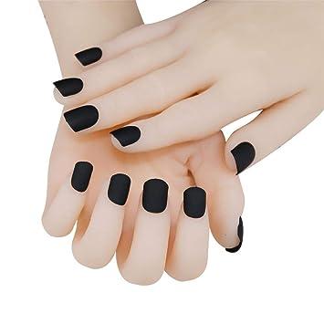 Amazon.com : JINDIN 24 Sheet Short Black Matte Fake Nails ... on