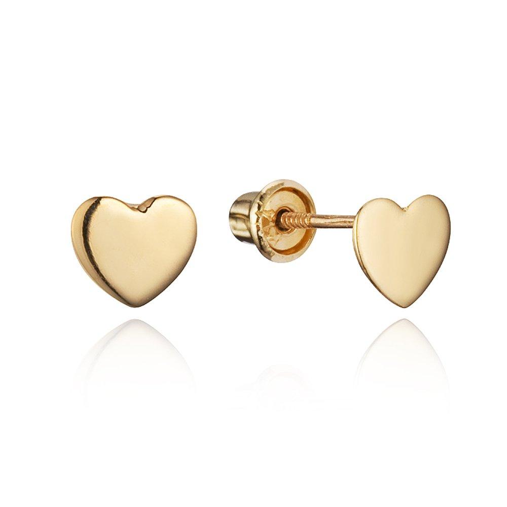 14k Yellow Gold Plain Heart Children Screwback Baby Girls Stud Earrings