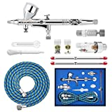 Gocheer High Precision Dual Action Gravity Feed Airbrush Kit with 0.2 0.3 0.5mm Nozzles and 1/8 5.9ft Hose for Art Painting Cake Decoration Tatto Manicure Spray Model Nail Makeup Air Brush Nail Tool