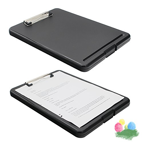 Slim-case Plastic Clipboard with Storage, Lightweight Polypropylene Storage Clipboard for Students, Nurse, Professionals and School Supplies (Black) by Genenic (Image #4)