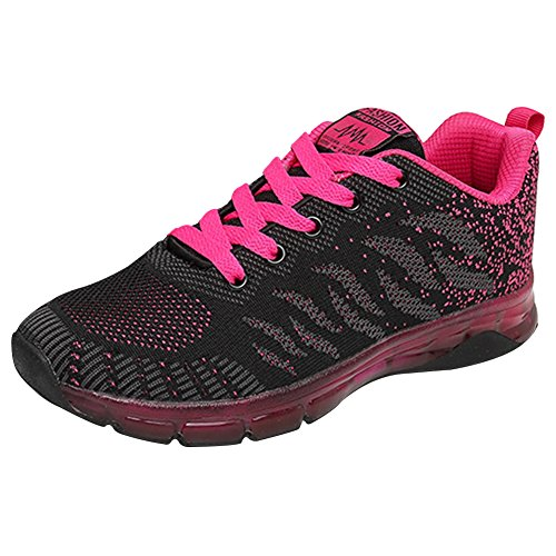 Wealsex Ladies Women's Trainers Air Cushion Shoes Shock Absorption Mesh Breathable Sports Fitness Running Shoes Gym Athletic Jogging Sneakers Rose Red