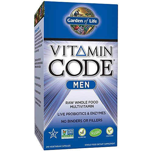Garden of Life Multivitamin for Men - Vitamin Code Men's Raw Whole Food Vitamin Supplement with Probiotics, Vegetarian, 240 Capsules (Raw Vitamin One Code)