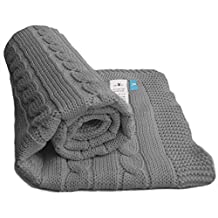 Wallaboo 100 Percent Organic Cotton Sweater Knit Blanket, Noa with Wide Ribbed Border , Moonless Night