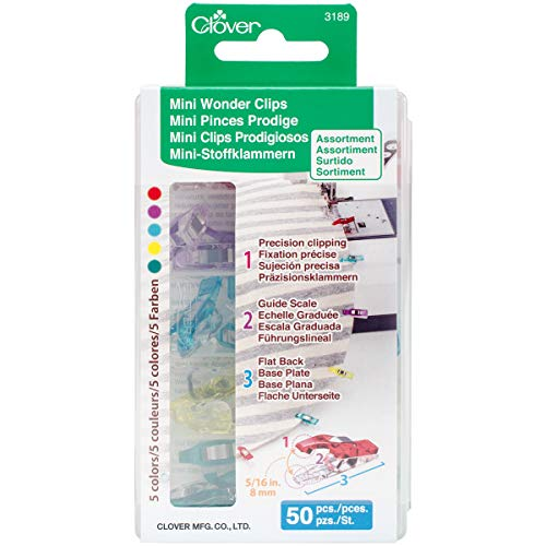 Clover Mini Wonder Clips (50 pcs. Assorted Colors) (Quilted Bag Patterns)