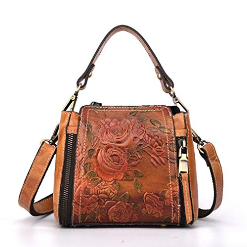 Small Vintage Embossed Floral Leather Tote Bag Handbag for Women Ladies Casual Satchel Messenger Crossbody Shoulder Crossbody Purses Handbags Brown