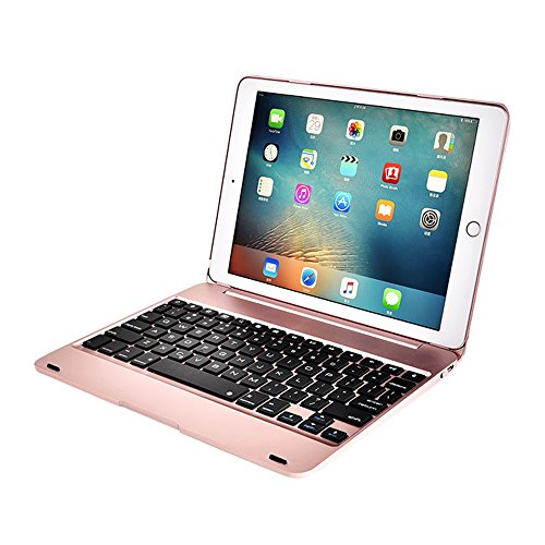 HIOTECH Wireless Bluetooth 3.0 Keyboard Case for iPad Air 2 / iPad Pro 9.7 Inches - ABS Material [78 Keys] with Auto Sleep / Wake Smart Case (Rose Gold) by HIOTECH