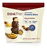 thinkThin Protein Bites, Peanut Butter, 4.5 oz Bag (6 Count, 18 Servings)