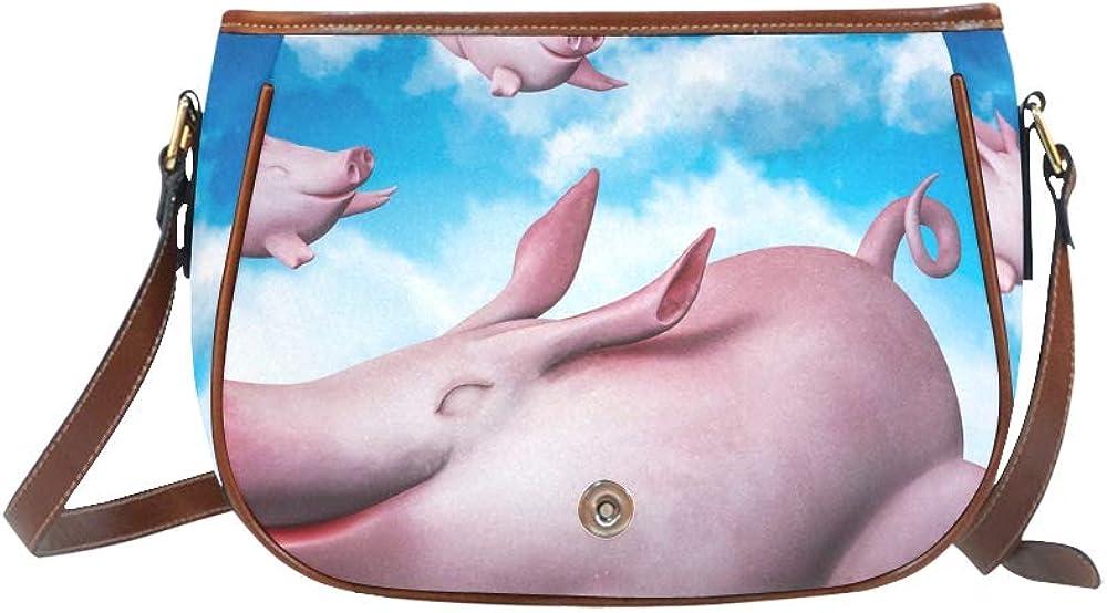Funny Sky Flying Piggies Travel Bags Shoulder Flap With Magnetic Snap Printed Girls Crossbody Bag Ladies Shoulder Bags