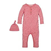 Burt's Bees Baby Baby Unisex Organic One-Piece Romper Coverall and Hat Set, Chrysanthemum Ditsy Leaf, 0-3 Months