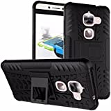 CASSIEY (TM) Tough Military Grade Armor Defender Series Dual Protection Layer Hybrid TPU + PC Kickstand Case Cover for LeEco Le Max 2 5.7 Inches - BLACK
