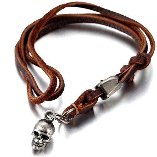 (Epinki Unisex Pendant, Stainless Steel Skull Necklace Silver 1218MM)