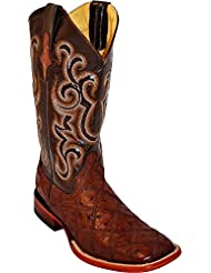 Ferrini Mens Ostrich Patchwork Exotic Western Boot Square Toe - 1169309