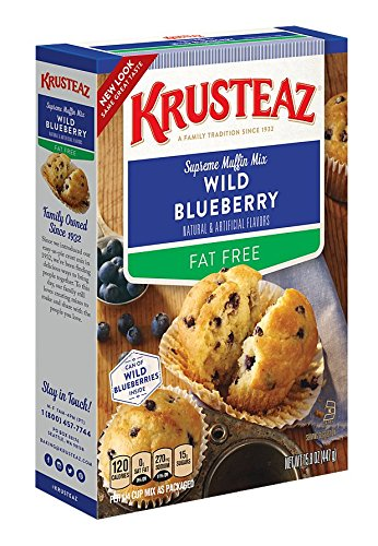 Krusteaz Fat-Free Wild Blueberry Supreme Muffin Mix, 15.8-Ounce Boxes (Pack of 12) by Krusteaz