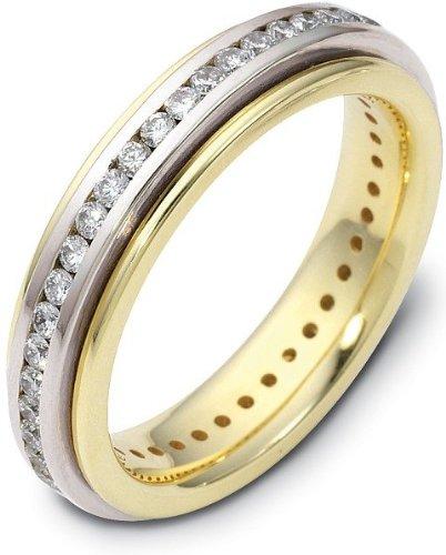 Spinning Diamond Wedding Band Ring - 4.5mm Titanium & 18 Karat Yellow Gold 38 Diamond SPINNING Wedding Band - 12.25