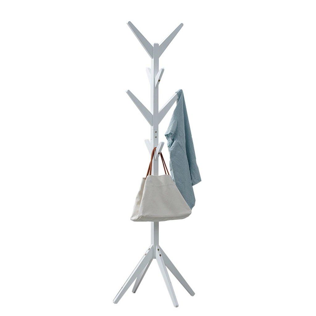 XM ZfgG Solid Wood Floor Coat Rack Children's Clothes Rack Living Room Bedroom Hangers Storage White