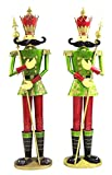 Giant Life-Size PAIR of 6' Iron Nutcracker Christmas Holiday Toy Soldiers (Green)