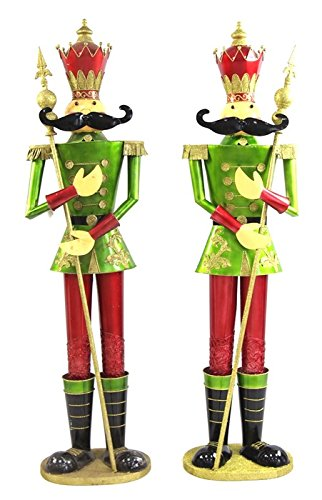 giant life size pair of 6 iron nutcracker christmas holiday toy soldiers green - Christmas Toy Soldiers
