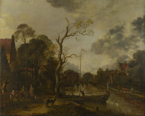 Oil Painting 'Aert Van Der Neer - A View Along A River Near A Village At Evening,1660s' 10 x 13 inch / 25 x 32 cm , on High Definition HD canvas prints, gifts for Bath Room, Bed Room And Game decor