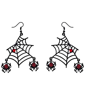 Lux Accessories Halloween Black Spider Web Dangling Red Rhinestone Earrings