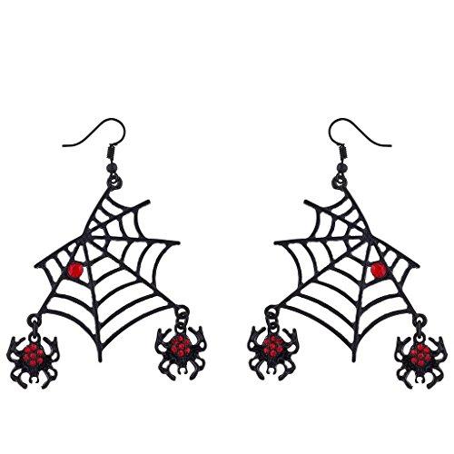 Black Spider Web Halloween Earrings