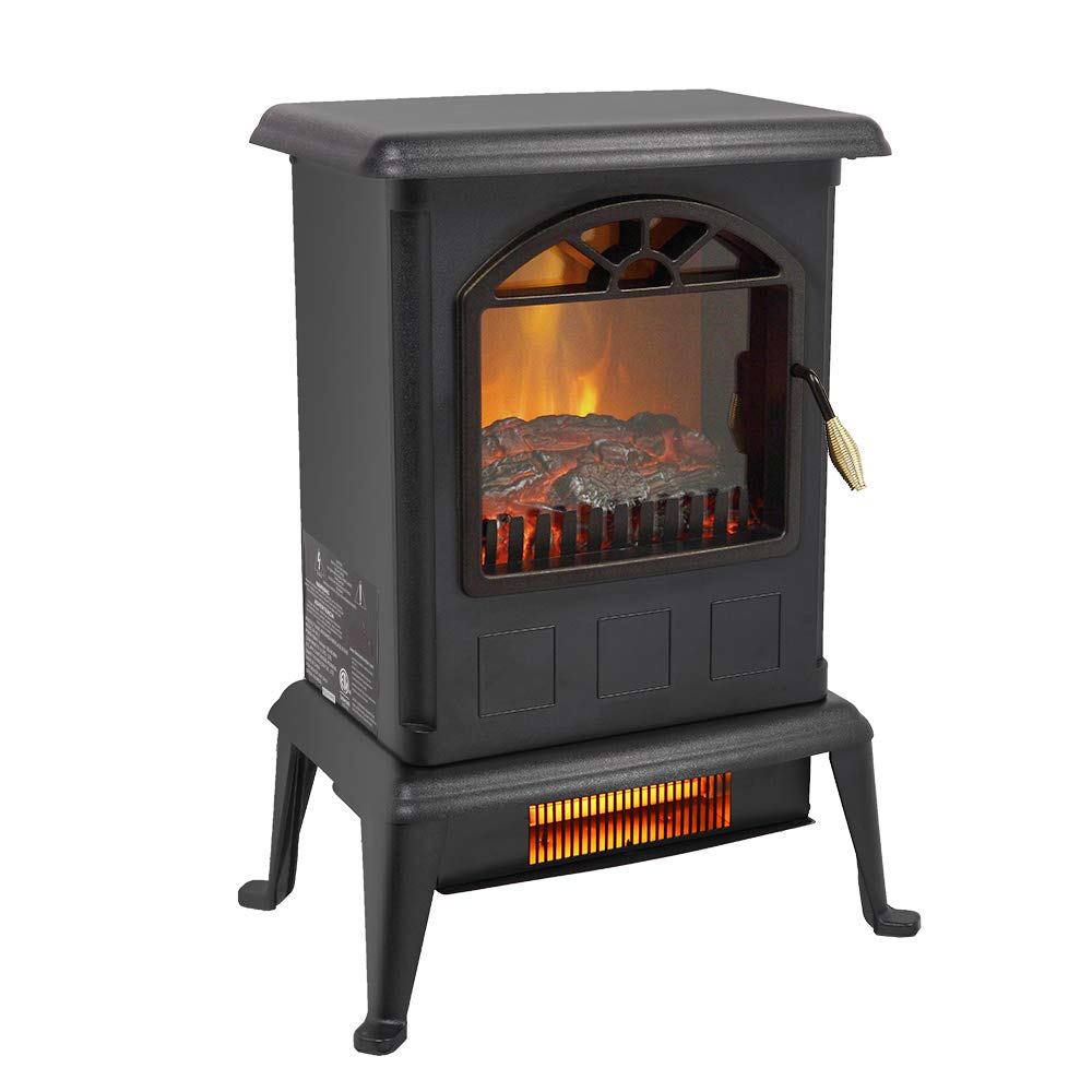 Electric Fireplace Heater, Infrared Space Heater 1500W Freestanding Electric Fireplace Stove Large Space Heater for Office Home Indoor Use