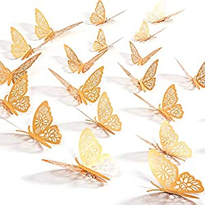 Kakuu 24PCS Gold Butterfly Wall Decals - 3D Butterflies Wall Stickers Removable Mural Decor Wall Stickers Decals Wall Decor Home Decor Kids Room Bedroom Decor Living Room Decor