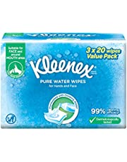 Kleenex Hand and Face Moist Wipes, Pure Water, 20ct (Pack of 3)