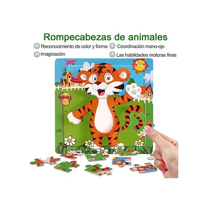 51Bl6bTQ2mL 【Incluyendo】Rompecabezas infantiles con Tigre, Elefante, Ciervo Sika, Ballena, Mono y Dinosaurio 6 rompecabezas (9 cada uno). Cada rompecabezas mide 5.9 * 5.9 pulgadas y es adecuado para pequeños agarres de las manos; es fácil de transportar y adecuado para viajar. Los colores brillantes y los lindos diseños de animales atraen a sus hijos a jugar, lo que facilita que los niños aprendan y recuerden. 【Calidad y Seguridad】Nuestros Wooden Jigsaw Puzzles están hechos de materiales ecológicos, no tóxicos, resistentes y duraderos. Todas las esquinas han sido meticulosamente diseñadas, sin esquinas afiladas y esquinas redondeadas, lo que es seguro para su hijo. Buen toque Cada rompecabezas tiene un marco de madera que ayuda a mantener las piezas en su lugar. 【Aprendar mientras Jugar】¡A los niños les encantan los rompecabezas! Son muy interesantes, inspiradores y emocionantes, ¡aprenderán mientras juegan! No solo proporciona diversión para los niños, sino que también los ayuda a practicar la resolución de problemas y el razonamiento espacial a medida que completan el rompecabezas.