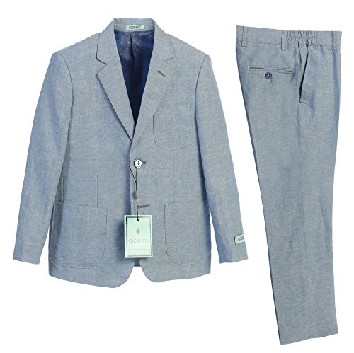Gioberti Boy's Linen Suit Set Jacket and Dress Pants, Blue, Size 14