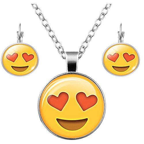 FIONUSUM Emoji Earring Hoop Necklace Pendant with Charm Chain for (Wedding Ring Emoji)