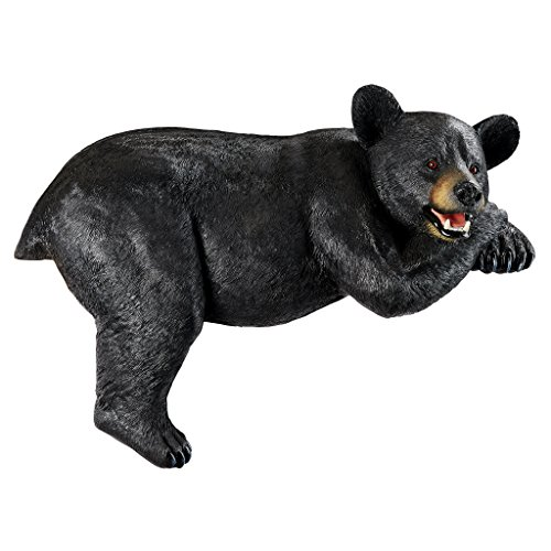 Design Toscano KY1884 Lemont The Lovable Lounger Black Bear Roof Mount Outdoor Garden Statue, 34 Inch, Full Color