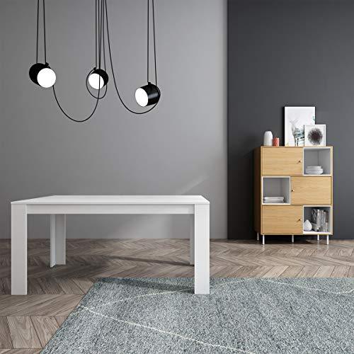 Mc Haus TROTTER - Mesa Comedor Madera Natural Blanca salon, Mesa cocina oficina de Diseno Rectangular con patas de madera lacada 160x90x75cm