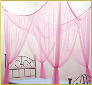 OctoRose  Light Pink 4 Poster Bed Canopy Functional Mosquito Net Full  Queen King
