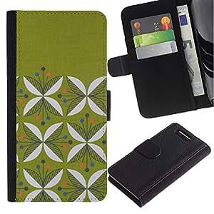 Stuss Case / Funda Carcasa PU de Cuero - Dise?o floral minimalista Musgo - Sony Xperia Z3 Compact