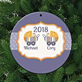 Twin Boys Christmas Personalized Ceramic Christmas Ornament