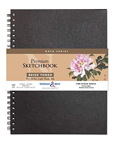 """Stillman & Birn Nova Series Beige Wirebound Sketchbook, 9"""" x 12"""", 150 gsm (Heavyweight), Beige Paper, Medium Grain Surface"""