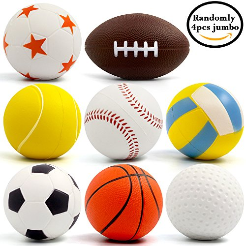Jumbo Squishies FLY2SKY 4 Pcs Slow Rising Sport Squishies Football Basketball Tennis Baseball Volleyball Golf Soccer Ball Squishies Kawaii Soft Scented Squeeze Squishies Toys for Kids/ Adults, Giant Soccer Basketball Baseball Golf Football