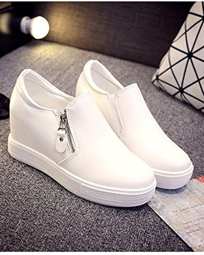 Minetom Mujer Otoño Invierno PU Cuero Botas Botines Plataforma Confortables Suela Gruesa Zapatos Blanco